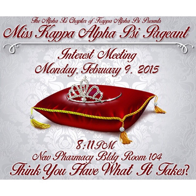 Tonight is the night! Come out to the pharmacy building room 104 at 8:11 to see if you have what it takes to be the next Miss Kappa Alpha Psi #axipageant @axi_nupes